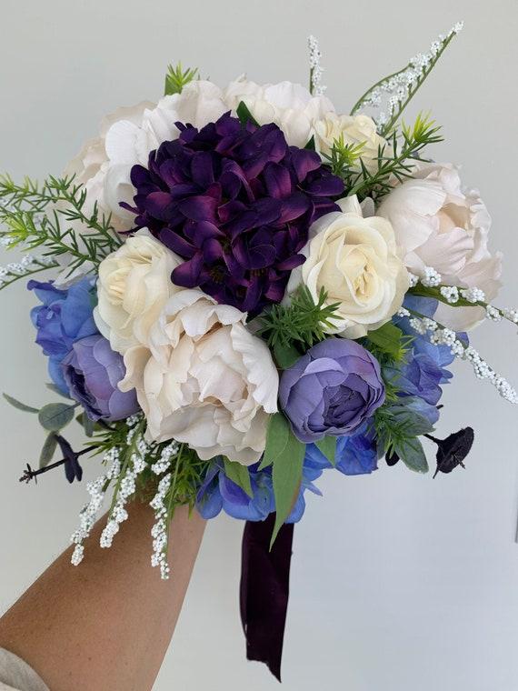 Silk Flowers Wedding Bouquet Purple Bridal Bouquet Faux Etsy