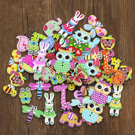 100pcs Mixed Cartoon Rabbit Wooden Sewing Buttons 2 Holes for DIY Kids Craft