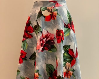 Vintage style 50's circle woman skirt with Watercolour flowers print