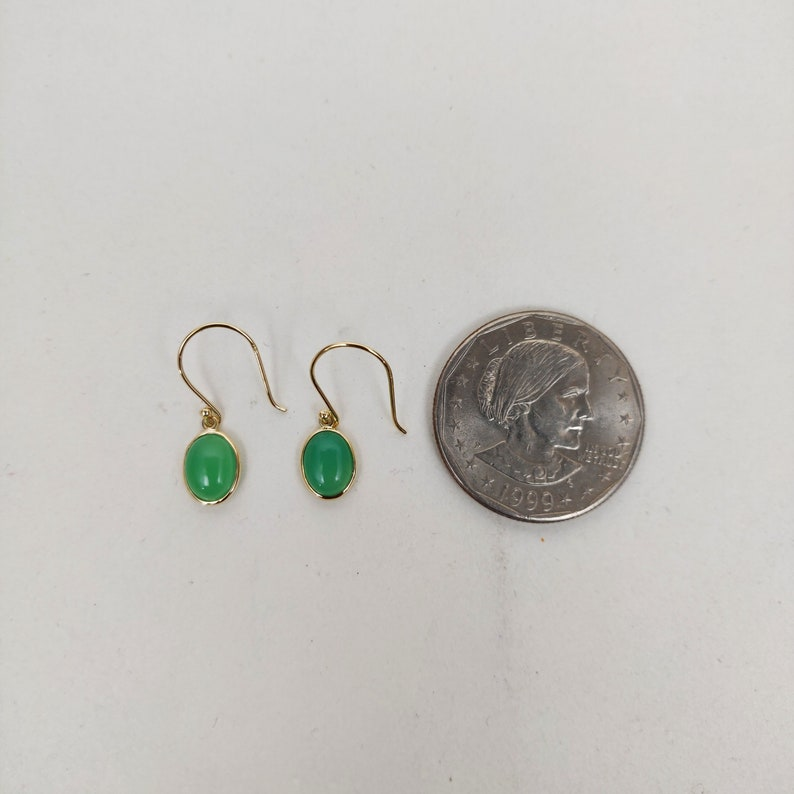 solid 14kt gold Chrysoprase 14k solid gold earrings handmade natural Chrysoprase  earrings in authentic yellow gold
