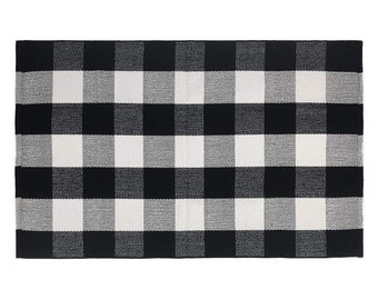 2x3 Buffalo Plaid Accent Rug, (ADD-ON ONLY), Black and White Checker Rug, Doormat, Free Shipping
