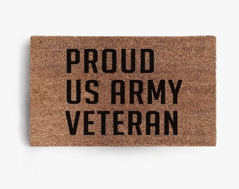 Proud US Army Veteran Bold Doormat, Coir Doormat, Welcome, Hustle,  Military, Army, Free Shipping