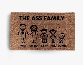The Ass Family Doormat, Coir Doormat, Welcome, Funny, Family, Doormat, Free Shipping