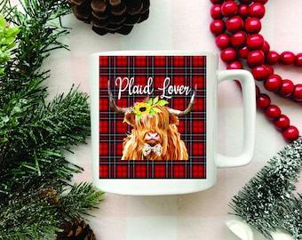 Plaid Lover Mug, White Coffee Mug, Coffee Lover, Plaid, Funny Mugs, Funny Sayings, Buffalo plaid mug