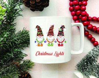 Gnome, White Coffee Mug, Coffee Lover, Christmas lights gnome, Funny Mugs, Funny Sayings