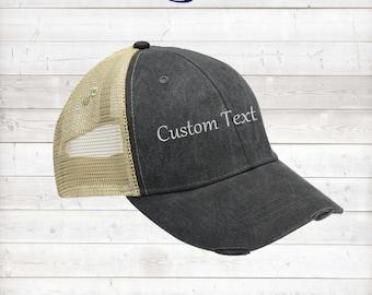 Distress Baseball Hat/Custom hat/Embroidery hat/Custom Embroidery Hat/Personalized Baseball Cap
