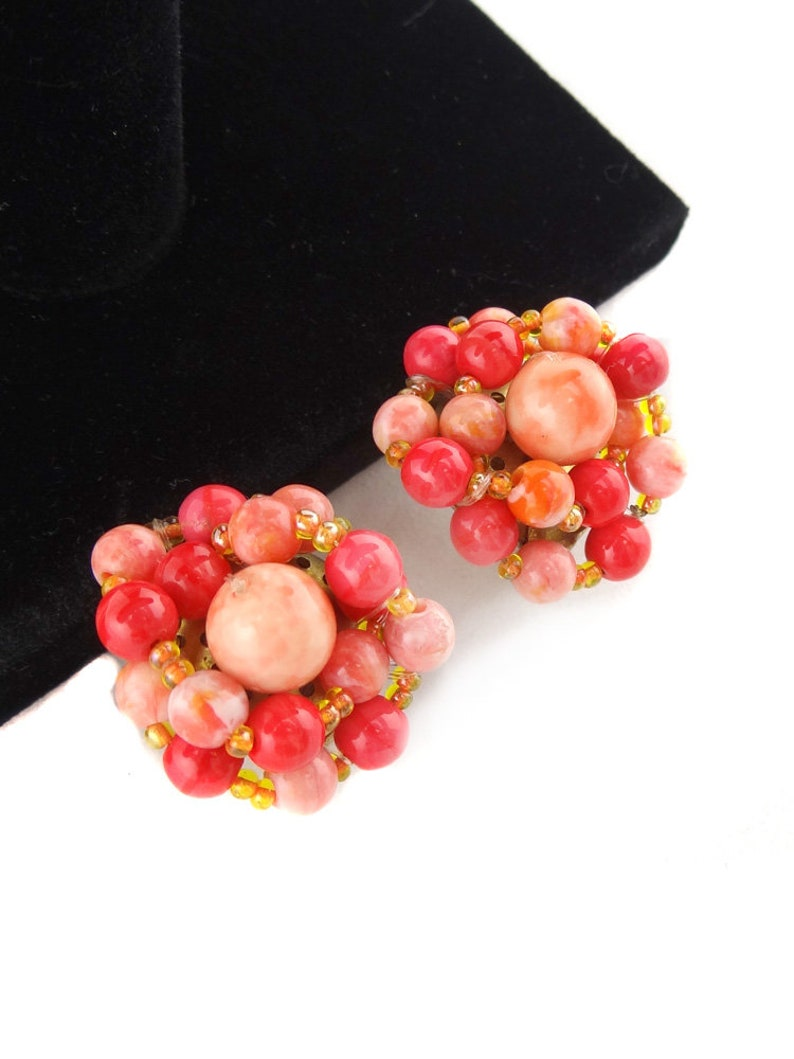 Large Vintage Coral Pink Earrings 80s Beaded Clip on Earrings Couture Style