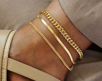 Anklet bracelet | gold chain anklet | thick chain gold anklet bracelet | gold anklet bracelet set |  chain anklet set, rose gold anklet