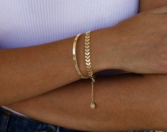 18K GOLD FILLED set bracelets,Chevron dainty gold bracelet, Cuff bangle bracelet, layered bracelet, everyday jewelry.