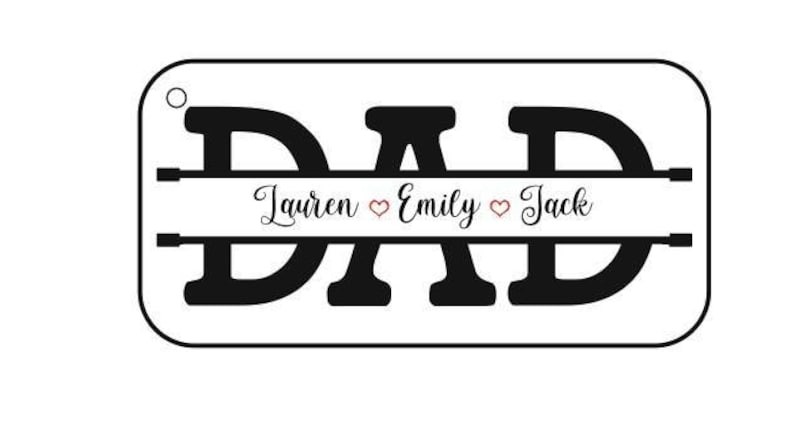 Father/'s Day Gift Handmade Keychain with Names Printed on Wood and Custom Resin with Dedicatory Phrase