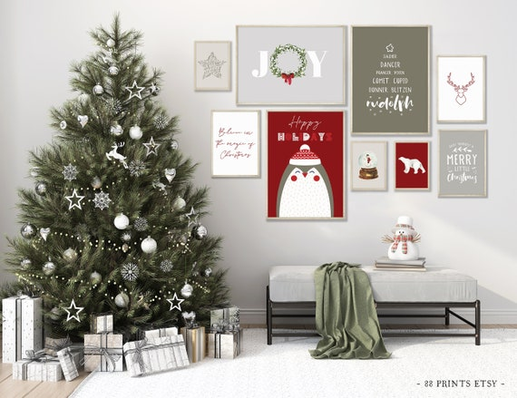 Christmas Set of 9 Prints, Christmas Artwork, Christmas Printable Art, Christmas Decoration, Christmas Prints to Download, Christmas Gallery