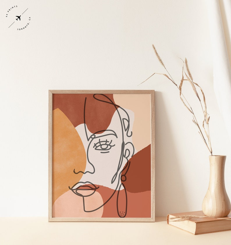 Abstract Face Fine Line Print Burnt Orange Prints Boho Art image 0