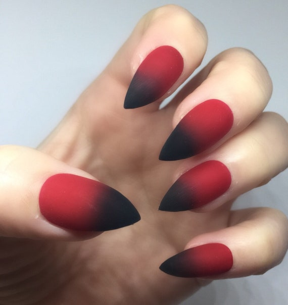 Ombre Red And Black Fake Nails Faux Nails Glue On Nails Etsy