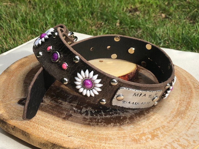 Daisy Trendy Girly Leather Dog Collar ,1.5\u201d Inch for Large Dog Personalized Nickel Stamped Nameplate in Purple /& Pink Flower Female Collar