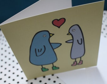 Valentine's 'Love Birds' Greeting Card | Funny Card |Blank Card | Birds | Love | Kids Gift | Gift For Him | Gift For Her