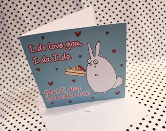 Valentine's 'Cake Love' Greeting Card | Cute |Blank Card | Bunny | Love | Sweet | Girlfriend | Boyfriend | Gift For Him | Gift For Her