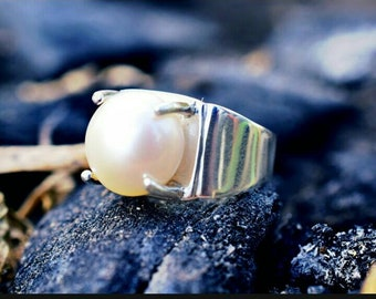 21ebe55c11a2 Pearl Ring in 925 Sterling Silver Silver Ring