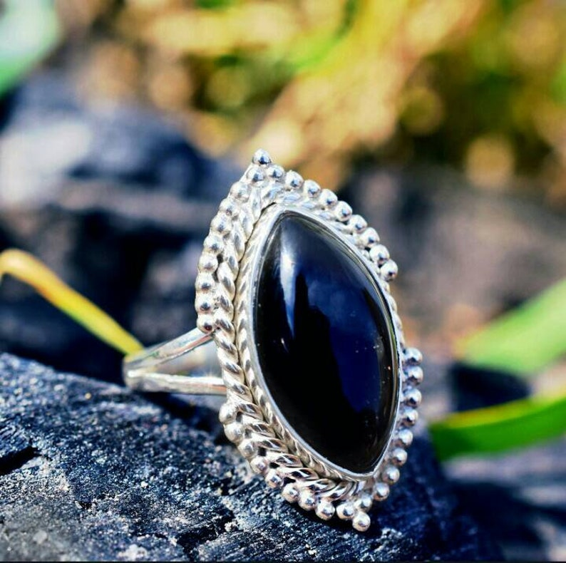 Sterling Ring Gift For Mother,Boho Ring Silver Ring,Black Onyx Ring Natural Black Onyx in 925 Sterling Silver Christmas Gift