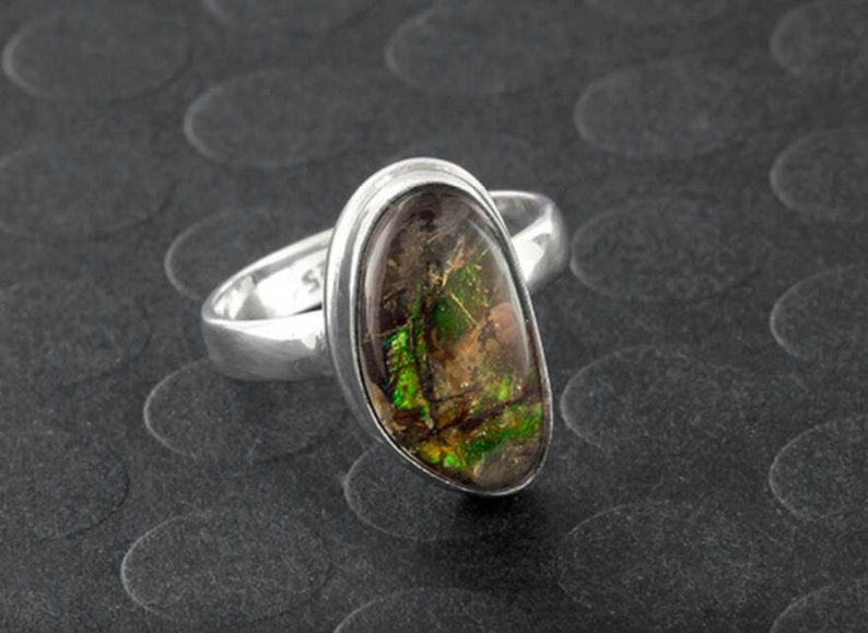 Gift For Mother,Boho Ring Gypsy Ring Sterling Ring Ammolite Ring in 925 Sterling Silver Christmas Gift Silver Ring,Ammolite Ring