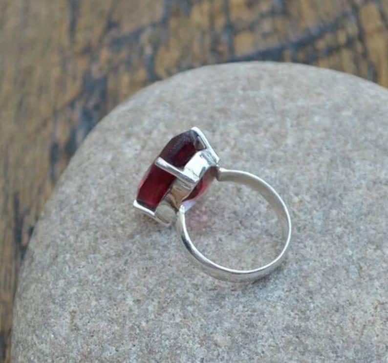 Free Shipping Garnet Ring Sale Ring Indian Artisans, Designer Indian Handmade Ring Sterling Silver Ring