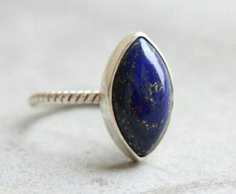 Natural Lapis Lazuli in 925 Sterling Silver Christmas Gift Sterling Ring Silver Ring,Lapis Lazuli Ring Gift For Mother,Boho Ring