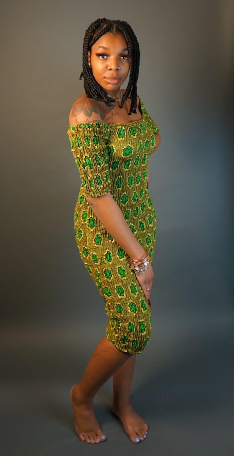 African Print Elastic Off-The-Shoulder Mini Dress EG Sankofa Dress African Dress Kente Dress Ankara Dress