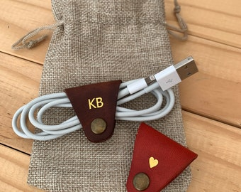 Leather cable organizer, earphone wire organizer, earpiece holder, leather cable cord, earphone holder leather, personalised Father's Day