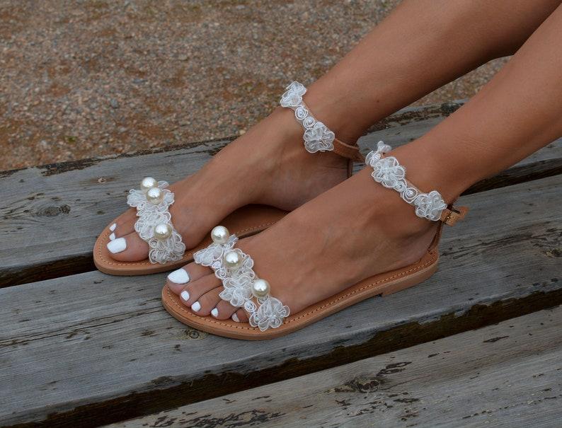 Bridal shoes Romantic sandals Off White sandals /'Emma/' Lace sandals Wedding sandals Wedding shoes Bridal sandals Pearl sandals