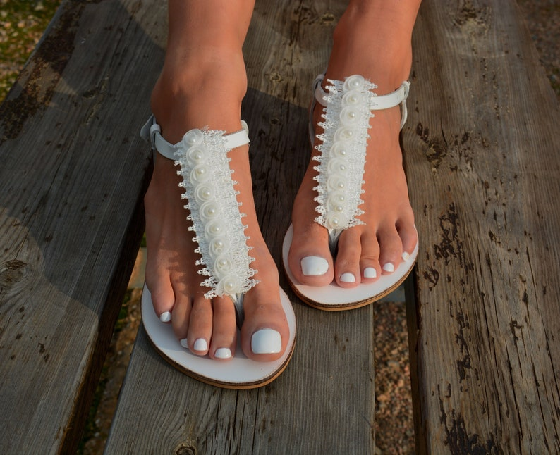 Wedding sandals White leather bridal sandals Lace sandals  74b5a3a01ad6