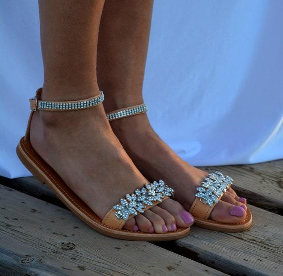 Wedding sandals, Bridal sandals, Leather sandals,Rhinestone embellished shoes, Silver sandals, Beach wedding sandals, Luxury sandals