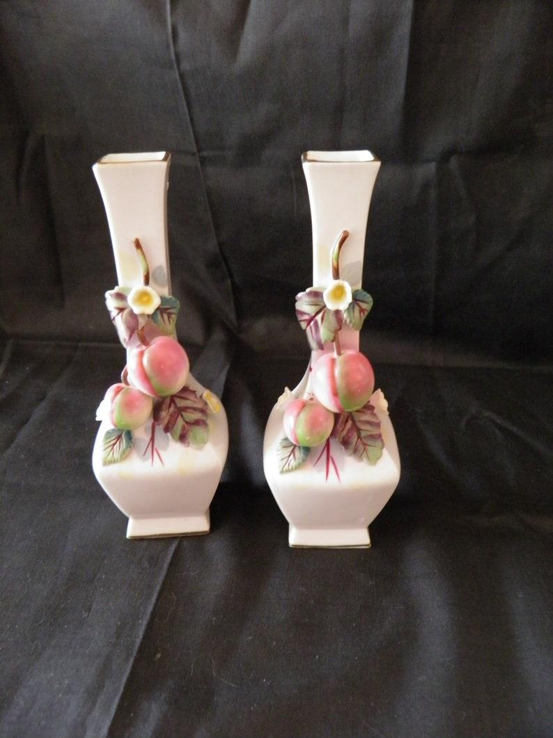 Pair of fruited bud vases