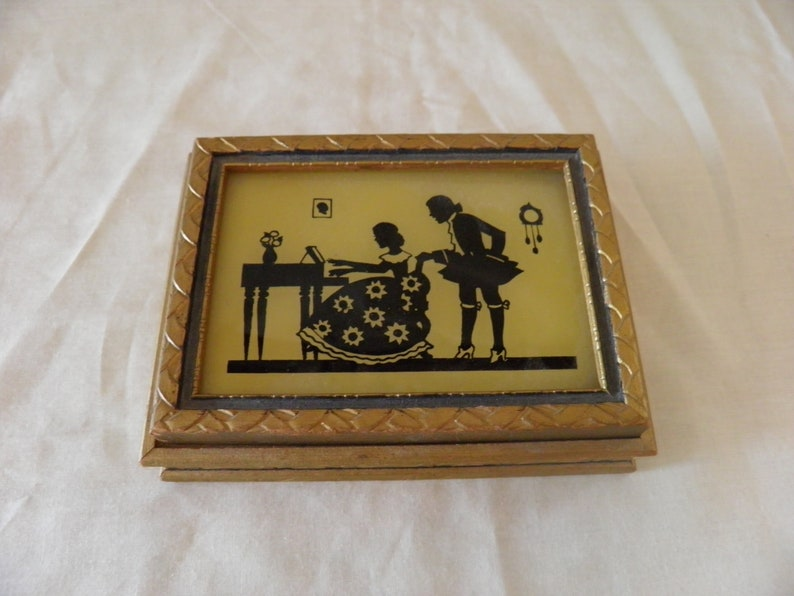 Silhouette jewelry  trinket box vintage
