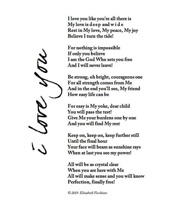 I Love You Digital Download Christian Poem Inspiration Wall Art Jpeg File Christian Printable 8x10