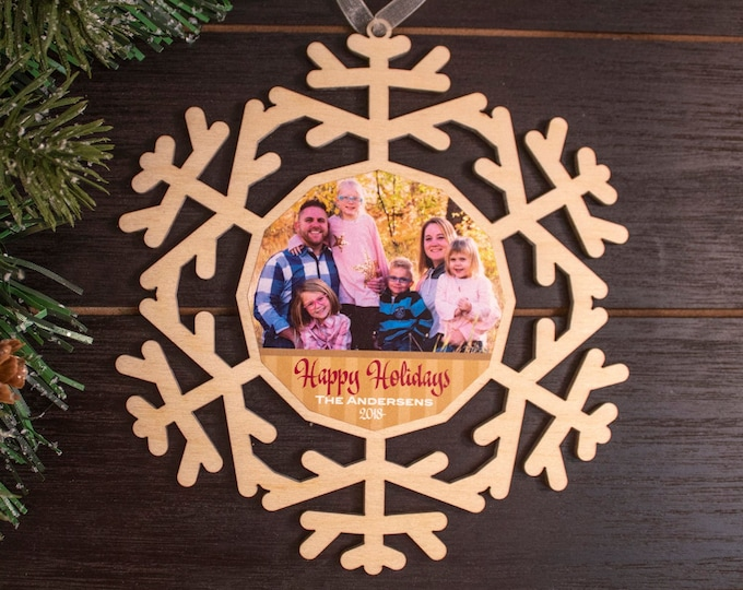 set of 6 classic wood snowflake ornaments, snowflake Christmas ornament, photo ornament, snowflake ornament, Christmas ornament, 104C
