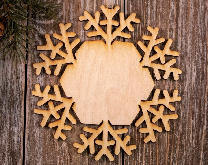 set of 6 rustic wood snowflake ornaments, snowflake Christmas ornament, DIY ornament, snowflake ornament, Christmas ornament, 105B
