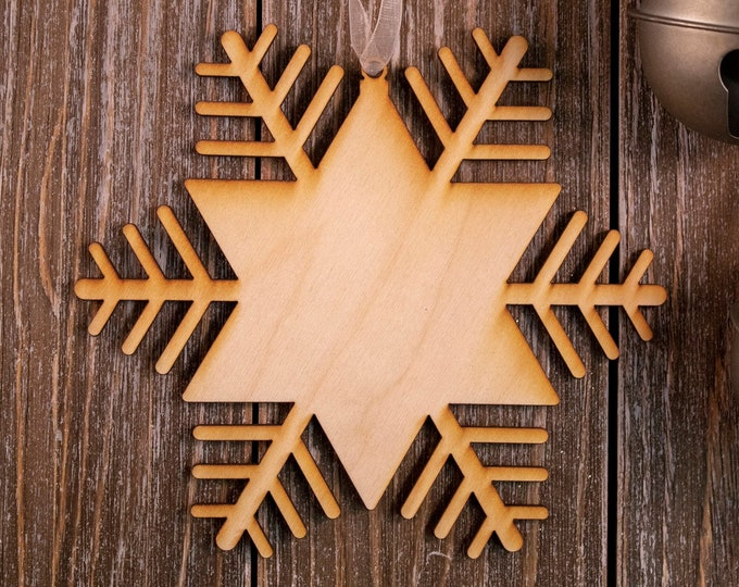set of 6 rustic wood snowflake ornaments, snowflake Christmas ornament, DIY ornament, snowflake ornament, Christmas ornament, 102B
