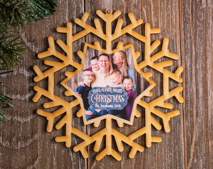 set of 6 rustic wood snowflake ornaments, snowflake Christmas ornament, photo ornament, snowflake ornament, Christmas ornament, 103R