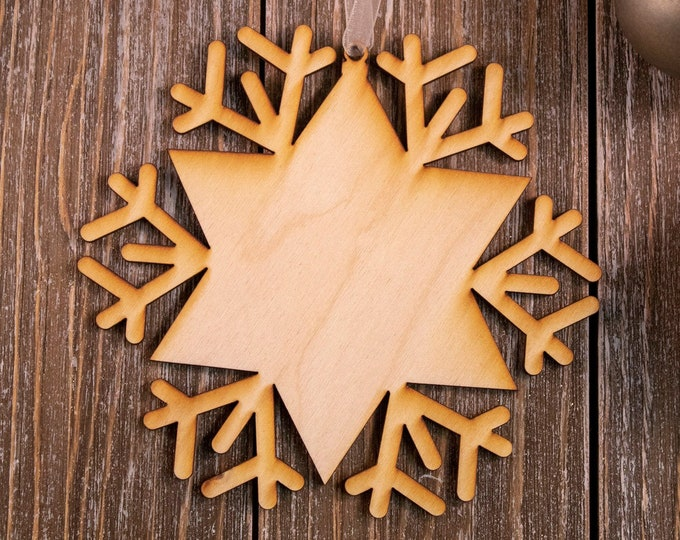 set of 6 rustic wood snowflake ornaments, snowflake Christmas ornament, DIY ornament, snowflake ornament, Christmas ornament, 101B