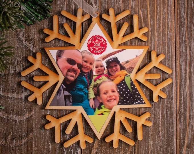 set of 6 rustic wood snowflake ornaments, snowflake Christmas ornament, photo ornament, snowflake ornament, Christmas ornament, 101R