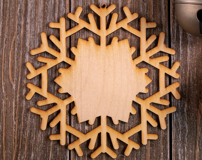 set of 6 rustic wood snowflake ornaments, snowflake Christmas ornament, DIY ornament, snowflake ornament, Christmas ornament, 103B