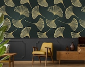 Gold leaf wallpaper, self adhesive wallpaper, peel and stick wallpaper, floral temporary wallpaper, leaf print, dark wallpaper, wall decor