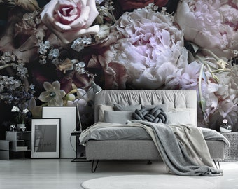 dark floral wallpaper etsypeony flower wallpaper, removable wallpaper, dark floral wallpaper, floral wall decor, self adhesive wallpaper, peel and stick wall mural