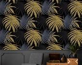 Gold palm leafs wallpaper, gold leaf, floral wallpaper, temporary wallpaper, banana leaf print, boho wallpaper, dark wallpaper, palm leaf