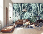 Exotic wallpaper, peel and stick wallpaper, temporary wallpaper, painted leaf print, tropical wallpaper, self adhesive wallpaper, wall decor