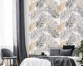 Leafs art wallpaper, gold leafs, floral wallpaper, boho wallpaper, nursery wallpaper, temporary wallpaper, banana leaf print, boho wallpaper