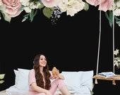 Big wedding floral wallpaper, wallpaper roll, temporary wallpaper, peony bouquet, dried flower bouquet, pressed flower, wedding clipart
