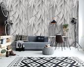 Leaf svg wallpaper, wallpaper roll, temporary wallpaper, botanical print set, vintage wallpaper, self adhesive vinyl, tropical art wallpaper