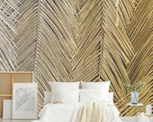 Leaf art wallpaper, straw texture wallpaper, removable floral wallpaper, temporary wallpaper, palm leaf print, peel and stick wallpaper