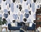 Exotic leaf wallpaper, monstera leaf, boho wallpaper, artificial fruit, tropical wallpaper, palm leaf, nursery wallpaper, drop leaf table