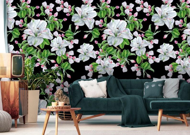 Alstroemeria blooming flowers watercolor wallpaper temporary wallpaper peel and stick wall sticker dark wallpaper removable wallpaper